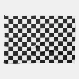 A cuadros blanco y negro toalla de mano