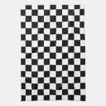 A cuadros blanco y negro toallas de mano