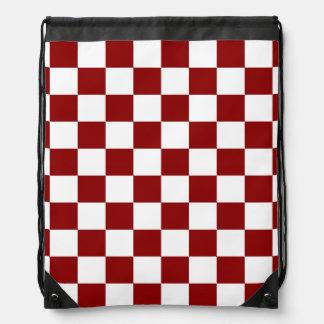 A cuadros - blanco y rojo oscuro mochila