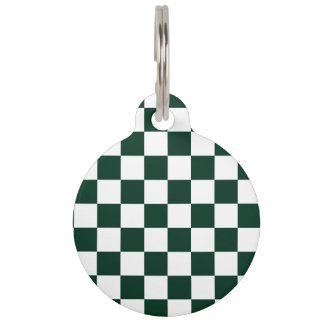 A cuadros - blanco y verde oscuro identificador para mascota