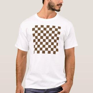 A cuadros - Brown blanco y oscuro Playera