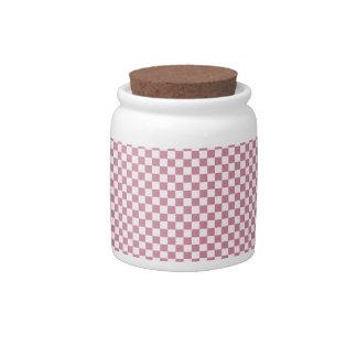 A cuadros - cordón rosado y Puce Jarras Para Caramelos