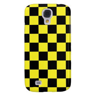 A cuadros negro amarillo - caja de la galaxia S4 d Funda Para Galaxy S4