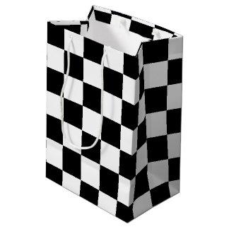 A cuadros negro bolsa de regalo mediana