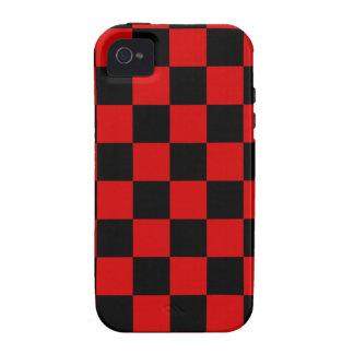 A cuadros - negro y Rosso Corsa iPhone 4 Carcasa