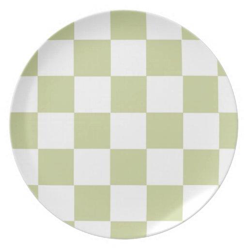 A cuadros palidezca - el verde platos para fiestas