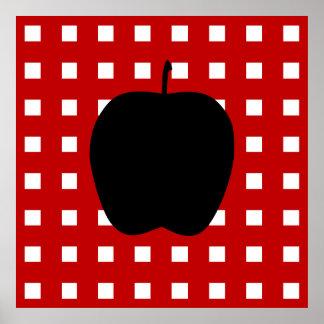 A cuadros rojo con la silueta de Apple Posters