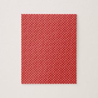 A cuadros - rojo en colores pastel y Firebrick Rompecabezas Con Fotos