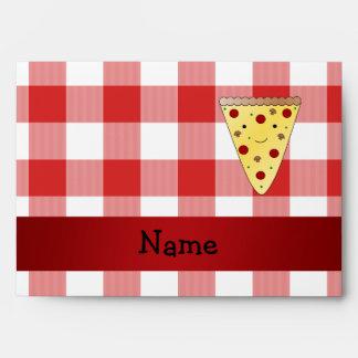 A cuadros rojo personalizado de la pizza linda con