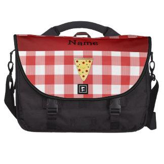A cuadros rojo personalizado de la pizza linda con bolsas para portátil