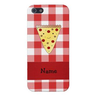 A cuadros rojo personalizado de la pizza linda con iPhone 5 cárcasa