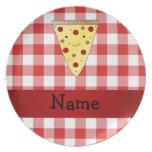 A cuadros rojo personalizado de la pizza linda con platos