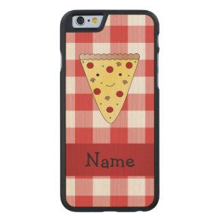 A cuadros rojo personalizado de la pizza linda funda de iPhone 6 carved® de arce