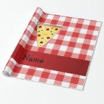 A cuadros rojo personalizado de la pizza linda papel de regalo