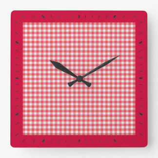 A cuadros rojo reloj cuadrado