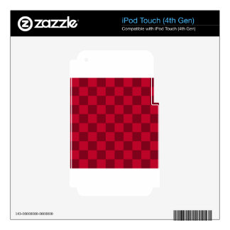 A cuadros - rojo y rojo oscuro iPod touch 4G calcomanía