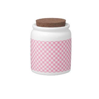 A cuadros - rosa 2 - palidezca - rosa y rosa del c jarra para caramelo