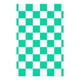 A cuadros - verde blanco y del Caribe Papeleria De Diseño