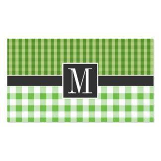 A cuadros verde elegante tarjetas de visita