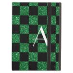 A cuadros verde y negro del brillo del monograma