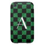 A cuadros verde y negro del brillo del monograma tough iPhone 3 funda
