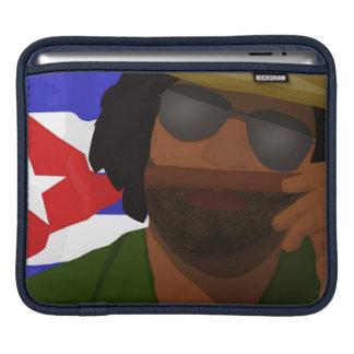 A Cuban man smelling cigar, Cuban flag background Sleeves For iPads