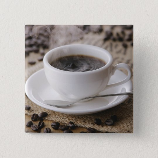 A cup of coffee pinback button
