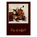 A cup of coffee - still life with coffee mill card