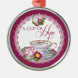 A cup of hope round ornament