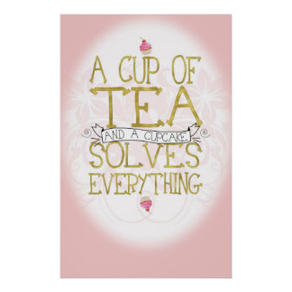A Cup of Tea and a Cupcake Poster
