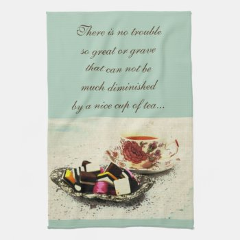 A Cup Of Tea And Sweets With Quote Hand Towel by justbecauseiloveyou at Zazzle