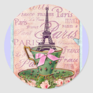 A Cup of Tour Eiffel Classic Round Sticker
