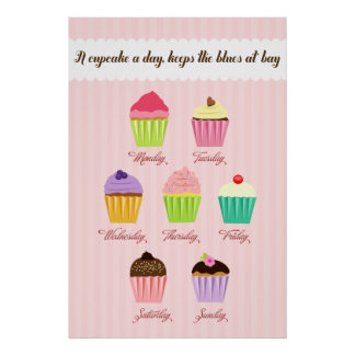 A Cupcake a Day Poster Print