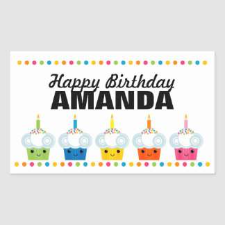 A Cupcake Rainbow BIRTHDAY PARTY Favor Label 10