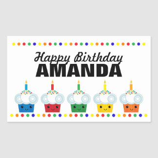A Cupcake Rainbow BIRTHDAY PARTY Favor Label 5