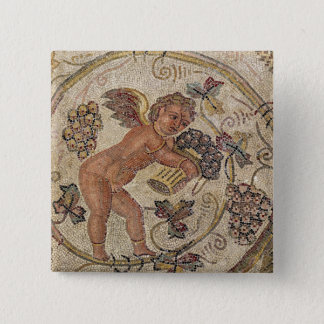 A cupid picking grapes, fragment of pavement pinback button