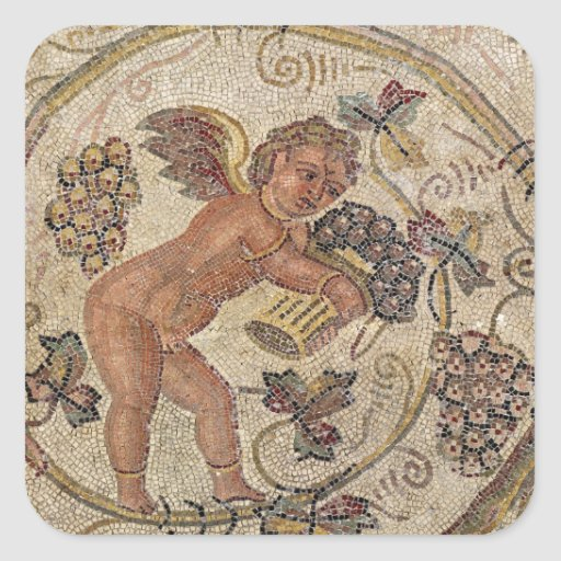A cupid picking grapes, fragment of pavement square stickers