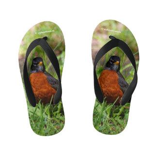 A Curious American Robin Kid's Flip Flops