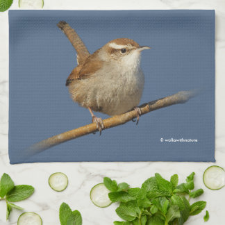 A Curious Bewick's Wren in the Tree Hand Towel