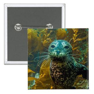 A Curious Harbor Seal Kelp Forest | Santa Barbara Pinback Button