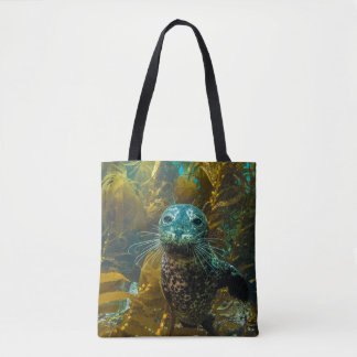 A Curious Harbor Seal Kelp Forest | Santa Barbara Tote Bag