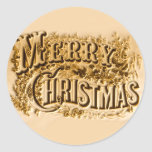 A Currier and Ives Merry Christmas Classic Round Sticker