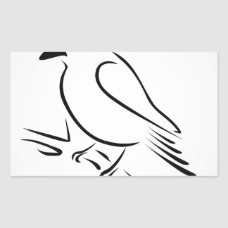 A cute abstract kingfisher sitting on a branch rectangular sticker