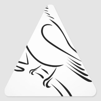 A cute abstract kingfisher sitting on a branch triangle sticker