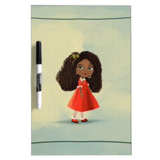 A cute African American cartoon girl Dry Erase Boa Dry Erase Whiteboards