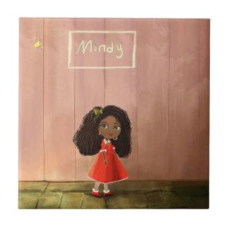 A cute African American cartoon girl tile