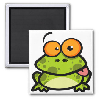 A cute and green spotted frog with orange eyes 2 inch square magnet
