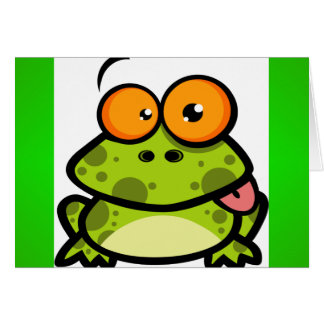 A cute and green spotted frog with orange eyes card
