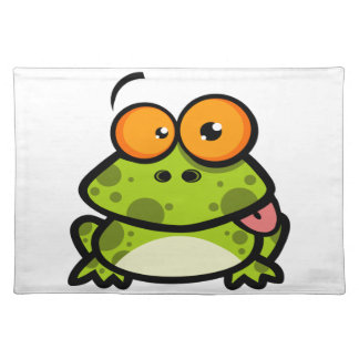 A cute and green spotted frog with orange eyes cloth placemat