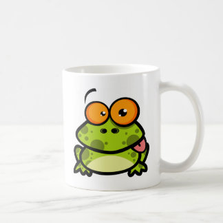 A cute and green spotted frog with orange eyes coffee mug